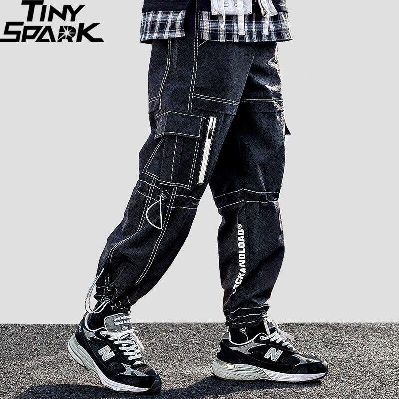 2019 Men Cargo Pants Hip Hip Streetwear Harajuku Harem Pants Joggers Casual Baggy Tactical Pants Multi Pockets Trousers HipHop
