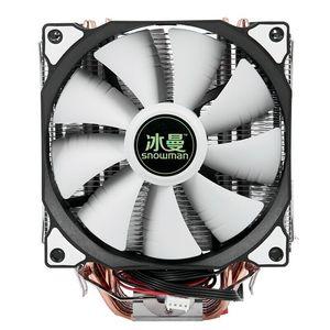 Кулер для процессора с изображением снеговика 4PIN, 6 тепловых двойных вентиляторов, вентилятор охлаждения 12 см, LGA775 1151, 115x1366, Поддержка Intel AMD