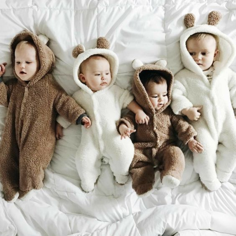 New Autumn And Winter Cotton Casual Newborn Cute Bear Design Winter Hooded Jumpsuit Bag Foot Romper For Baby Boy And Baby Girl