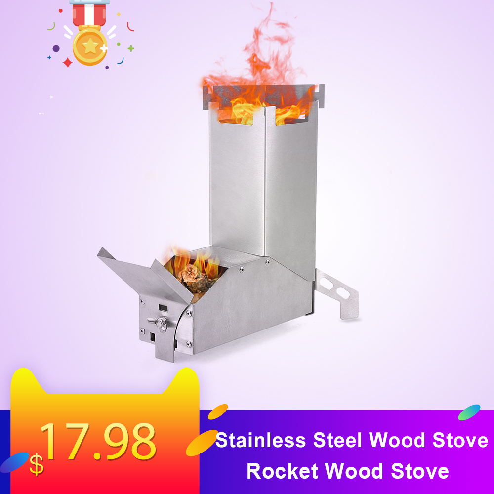 Stainless Steel Camping Wood Rocket Stove Portable Outdoor Folding  Wood Stove Burning For Backpacking Survival Cooking Picnic