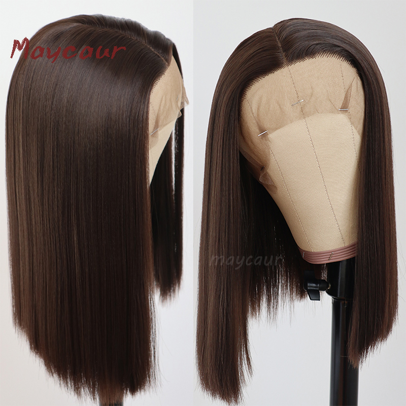 Bob Synthetic Lace Front Wig With Natural Hairline Heat Resistant Short Straight Wigs For Women 180 Density 14-16 Inch