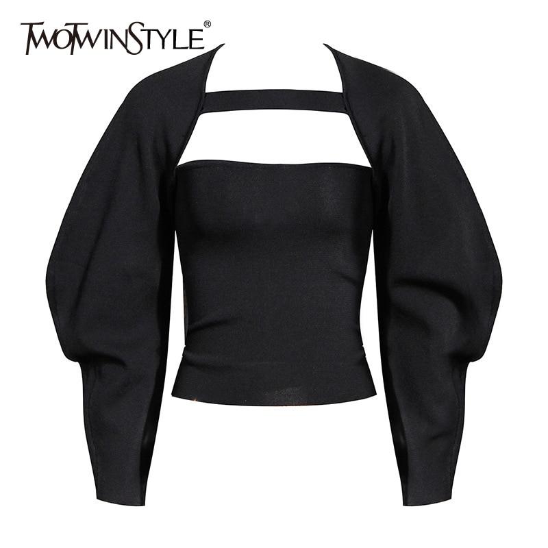 TWOTWINSTYLE-conjunto informal de dos piezas para mujer, cuello cuadrado, eslinga sólida, manga de farol, abrigo de túnica, traje negro para mujer, moda de otoño 2020