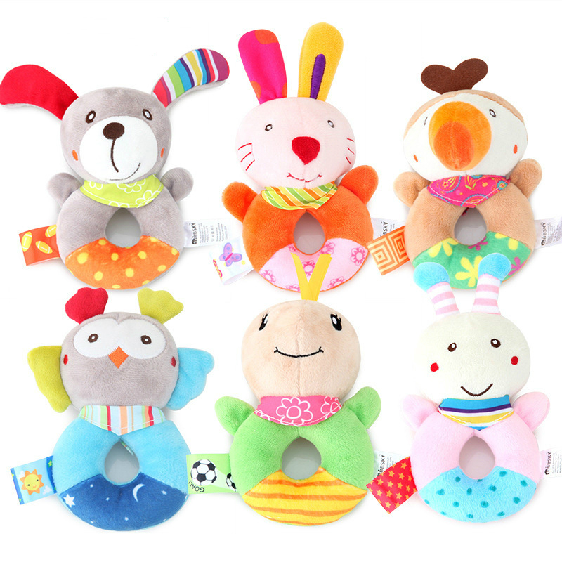 Baby Animal Hand Round Bell Cute BB Stick Hand Rattle Toy Children Learning Education Gift Baby Rattles Mobiles Cartoon Toys
