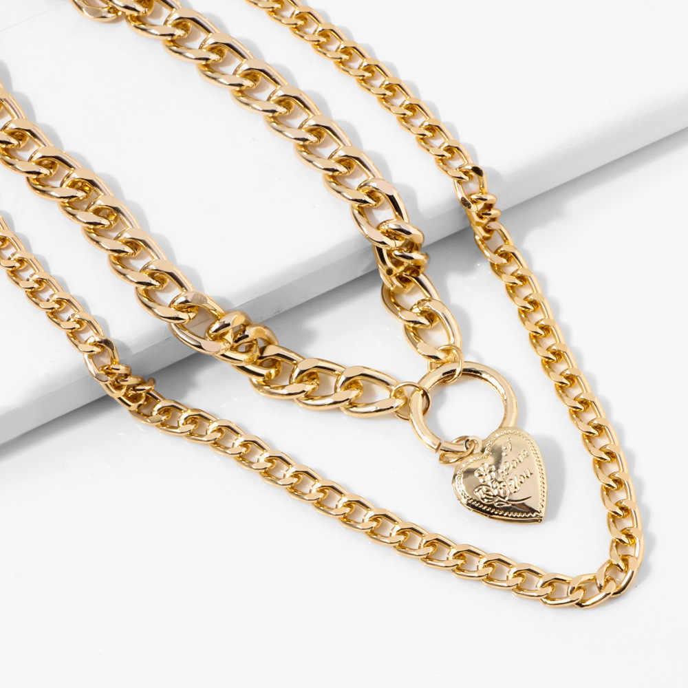 Hip Hop biżuteria mężczyźni kobiety przesadzone kubański grube choker łańcuszek naszyjniki Punk oświadczenie złoty łańcuch długi naszyjnik dla Rock raper