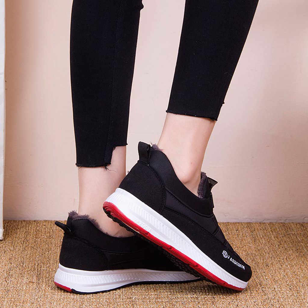 Kar çizmeler kadın ayakkabıları sıcak peluş kürk yarım çizmeler kış kadın üzerinde kayma düz rahat ayakkabılar su geçirmez Ultralight ayakkabı # J30