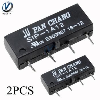 2 unids/par nuevo negro DC 12V lengüeta relé SIP-1A12 lengüeta interruptor temporizador retardo relé 4PIN para PAN CHANG altamente tubo de caña seca sensible
