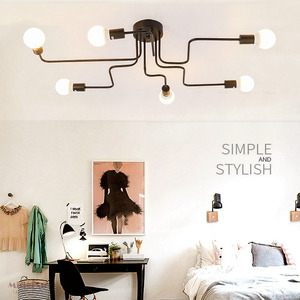 Image 3 - Vintage Ceiling Lights Multiple Rod Wrought Iron Ceiling Lamp E27 Bulb Living Room Lamparas For Home Lighting Fixtures