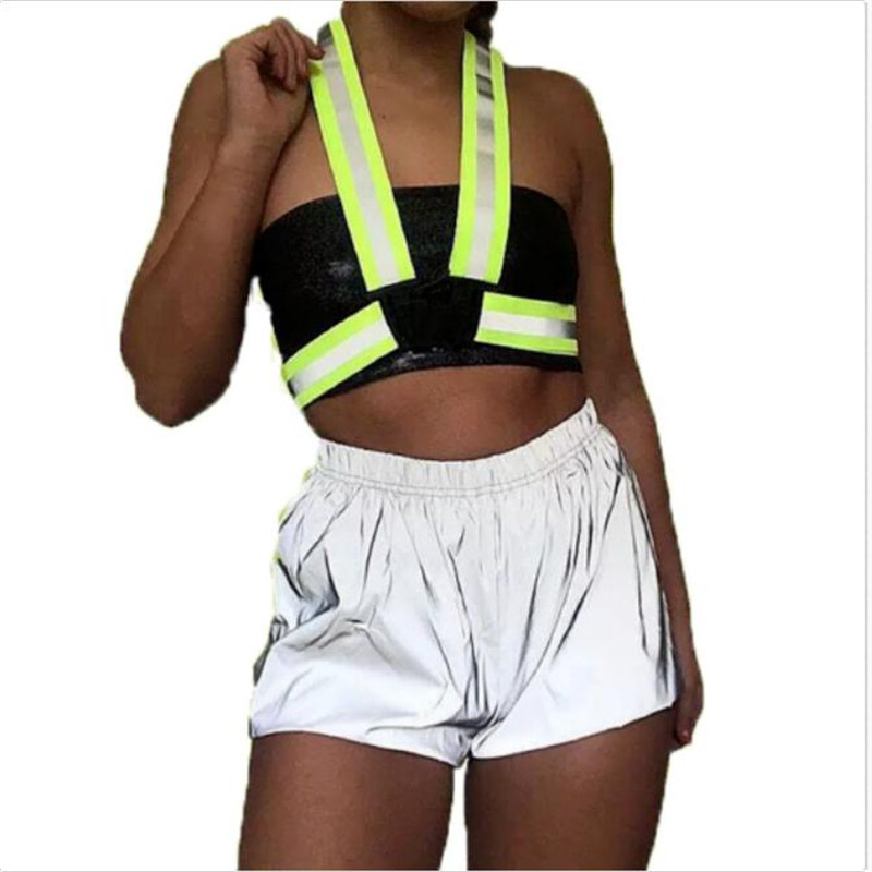 Female's Summer Casual Shorts New High Elastic Waist Shiny Reflective Shorts Ladies Fashion Large Sizes Solid Color Short Pants