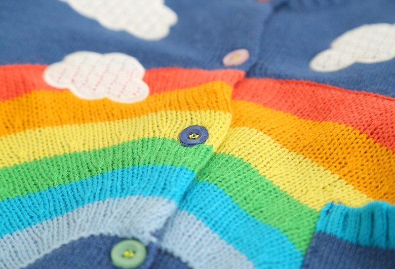 SAILEROAD 2-7Years Rainbow Embroidery Knitted Sweater for Girl Autumn Cardigan for Boys Warm Sweaters for Girls Kids Clothes 3