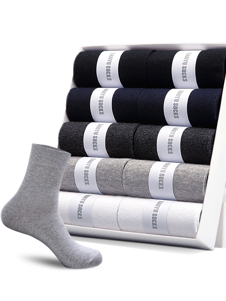 Cotton Socks Spring Business HSS Breathable Us-Size Black Male Summer Men's 10-Pairs/Lot
