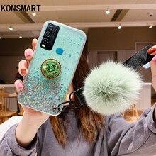 KONSMART Y30 Case Cartoon Cute Glitter Star Soft Phone Case For VIVO Y30 Silicone Finger Ring Back Cover With Hairball Vivo Y30 смартфон vivo y30 64gb dazzle blue