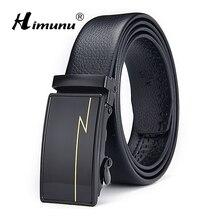 [HIMUNU] Модный Роскошный дизайнерский ремень с автоматической пряжкой, черный ремень из натуральной кожи, мужские ремни из коровьей кожи, ремни для мужчин, Ширина 3,5 см
