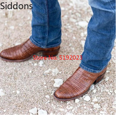 Ankle Boots Men Shoes Men's High Quality PU Leather Brown Striped Low Heel Boots  Botas Hombre Blancas  Zapatos De Hombre D312
