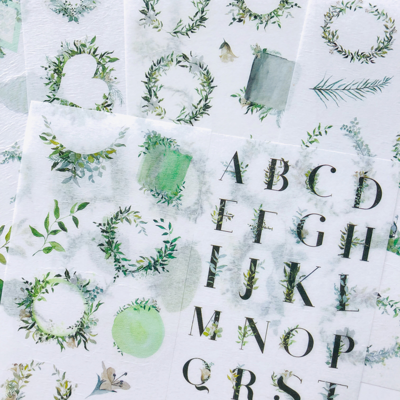 6 Sheets Fresh Green Style Leaf Letters Washi Paper Decorative Stickers Label Stick Decoration