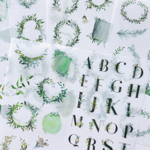 Decorative-Stickers Label Stick-Decoration Washi-Paper Letters Green-Style 6-Sheets Fresh