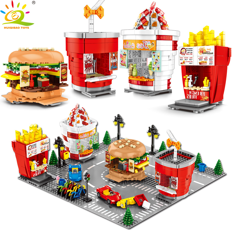HUIQIBAO TOYS 998PCS Ice Cream Hamburger Drinking Store Building Blocks For Children Legoingly City Street View Shop DIY Bricks