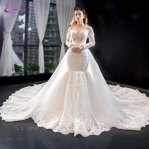 Image 4 - Waulizane 2020 كم طويل من 2 في 1 فستان الزفاف مشد الظهر رائع فستان عروس