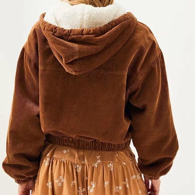 Купить gypsylady коричневые толстовки corduro куртка пальто повседневная