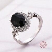 Anillo apilable de circonia cúbica negra para mujer, joyería auténtica de Color plateado, anillos de dedo redondos de cristal para mujer, bisutería para fiesta de boda