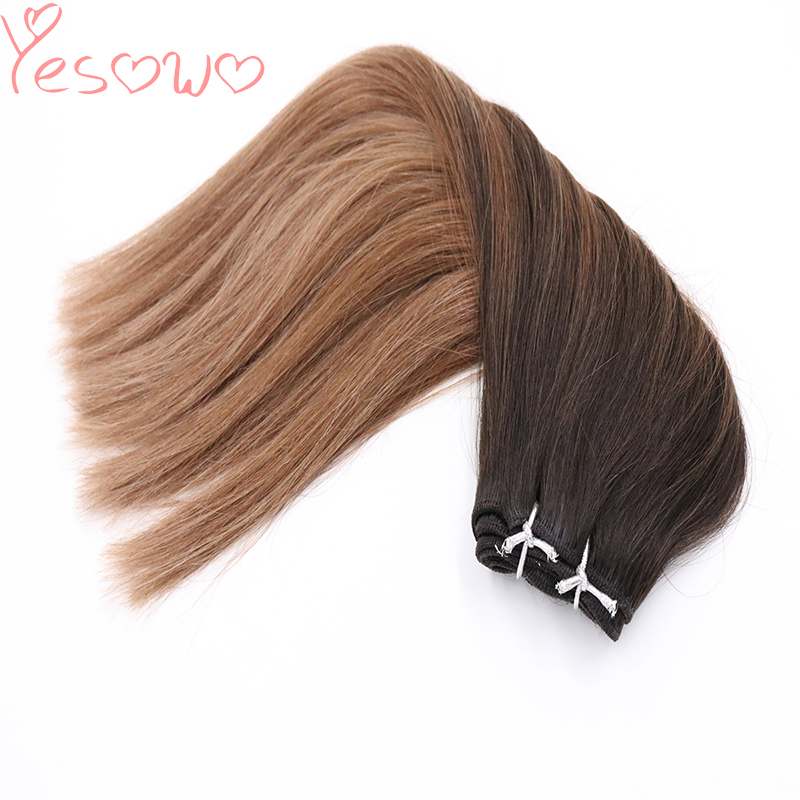 Yesowo Cheap Machine Weft 1b/6/27# 100g Cambodian Straight Human Remy Weave Hair Extensions For Thin Hair