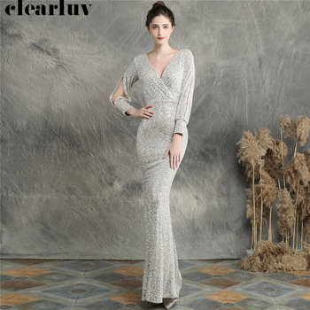 Sequins Women Party Dress DX240-6 2019 New Plus Size Mermaid Prom Dress Robe De Soiree Apricot Silver Long Sleeves Evening Dress 1