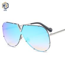 Men Women Sunglasses Siamese Glasses Hemmin Metal Texture Mirror leg Personality
