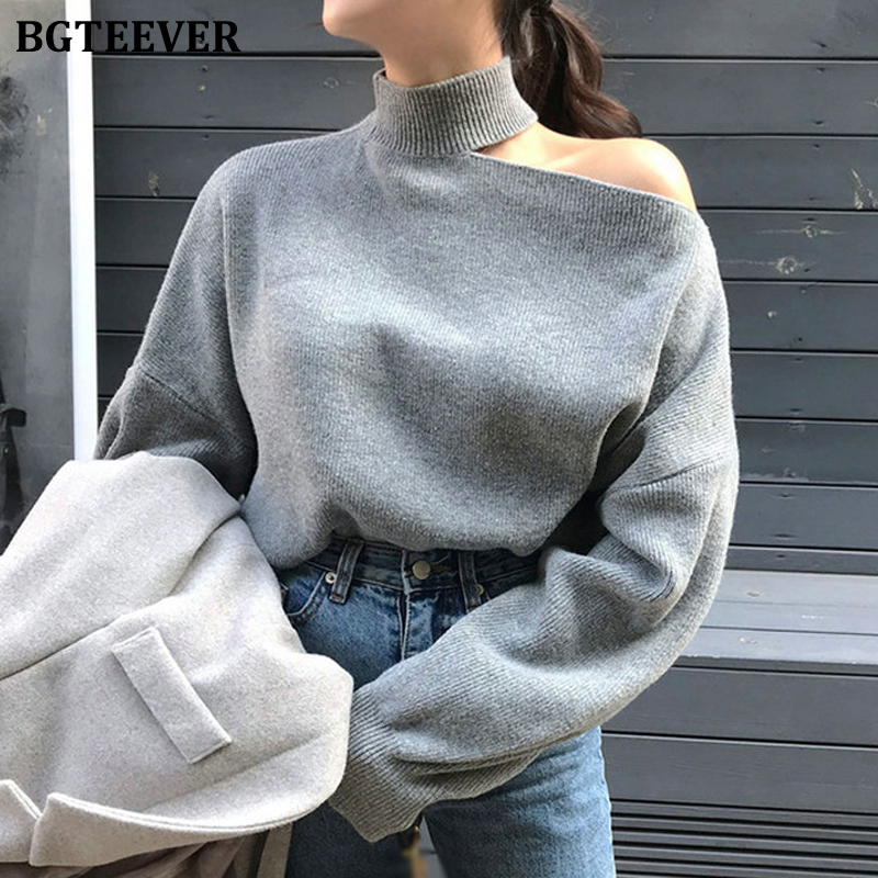 BGTEEVER Turtleneck Cold-shoulder Loose Women Knitted Pullover Winter Casual Solid Female Sweater Jumpers Femme Knit Tops 2020