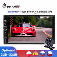 """Podofo Android Auto Radio Autoradio 7 """"2 Din 2GB + ROM 32GB Lettore Multimediale Auto Specchio Stereo collegamento FM MP5 2din Registratore A Cassette"""