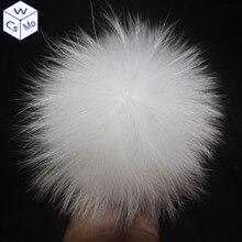 DIY 13cm rakun kürk ponpon örme kış bere şapka 100% gerçek kürk ponpon Pom yetişkinler için çocuk battaniyesi bebek çocuk kapaklar