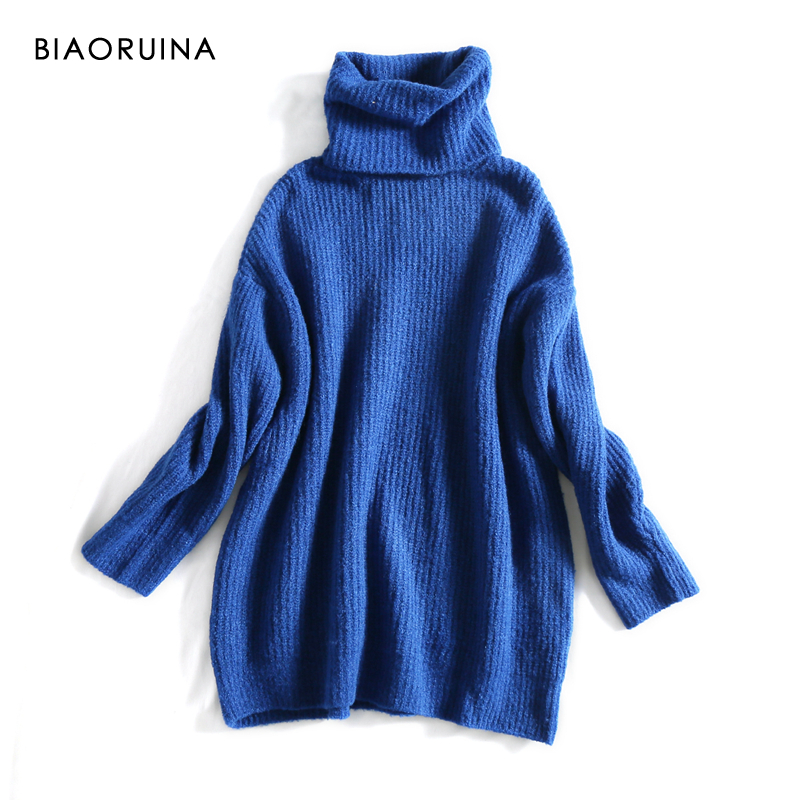 REJINAPYO 15 Color Women Fashion Solid Casual Knitted Sweater Female Turtleneck Oversized Pullover Ladies Elegant Loose Sweater 8