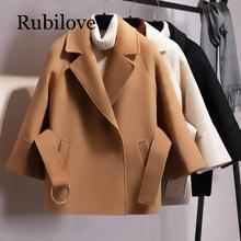 Rubilove European and American woolen womens autumn winter short cloak coat