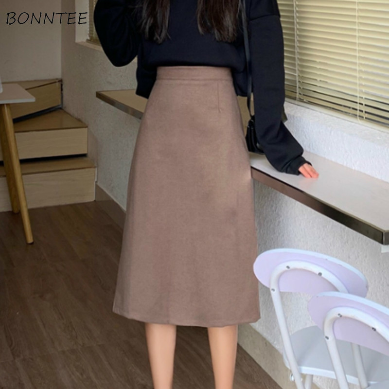 Skirts Women Solid A-line Wrap Hip High Waist Simple Daily All-match Womens Korean Style New Arrival Loose Student Elegant Retro
