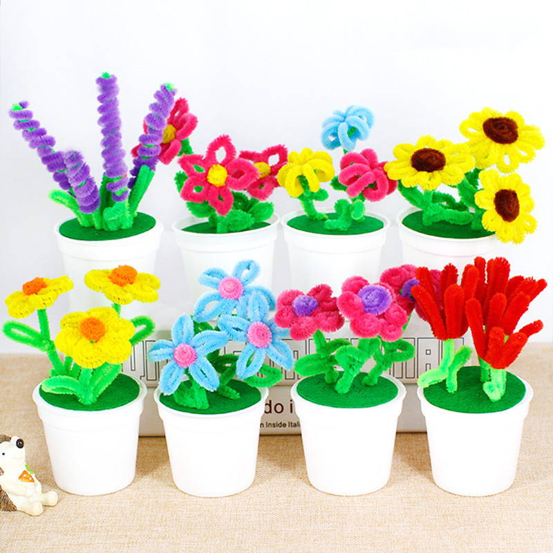 Hand Twisted Plush Stick Flower Pots Kindergarten Kids DIY Flower Craft Toys Puzzle Handmade Kit Twister Stick Hair Root Flower