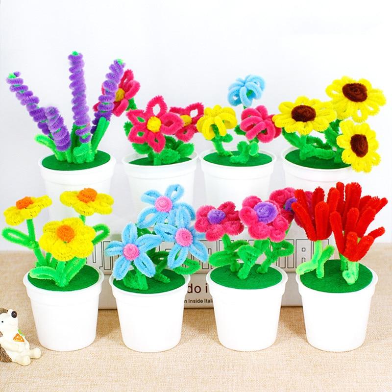 Hand Twisted Plush Stick Flower Pots Kindergarten Kids DIY Flower craft Toys Puzzle Handmade Kit Twister Stick Hair Root Flower