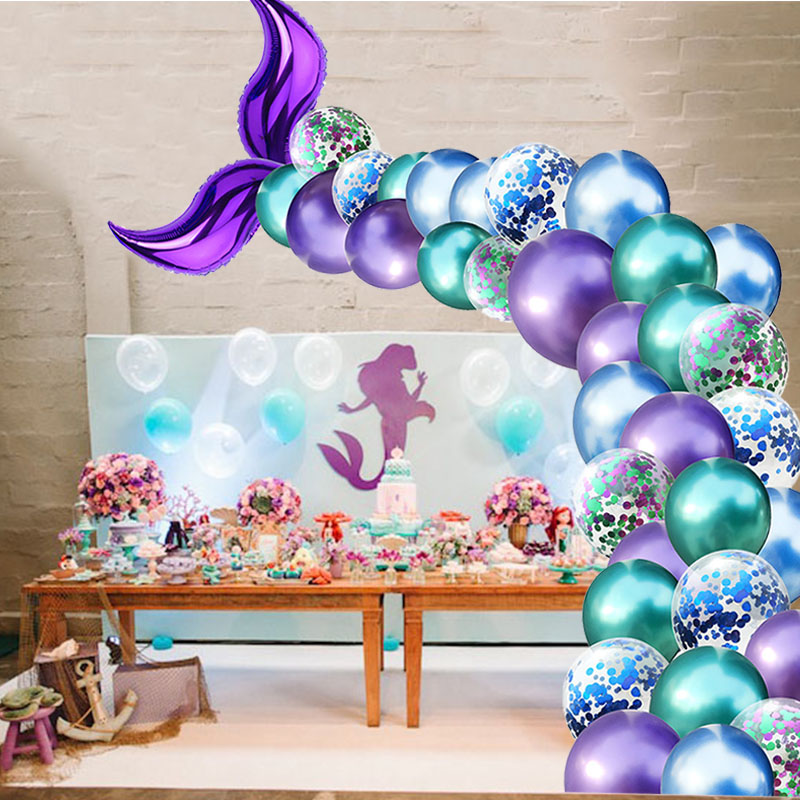 Mermaid Party Balloon Arch Set Mermaid Tail Balloon Little Mermaid Party Decorations Supplies Wedding Girl Birthday Party Decor