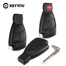 KEYYOU-carcasa de mando a distancia de coche, 2/3/4 botones para Mercedes Benz B C E ML S CLK CL, reemplazo de llave inteligente