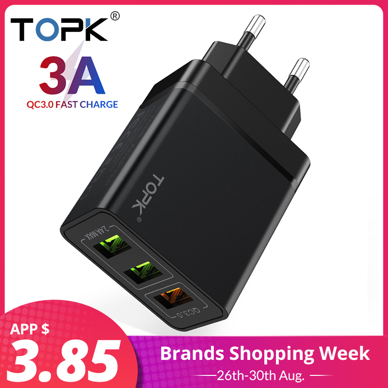 TOPK Usb-Charger Wall-Phone Qc3.0 Multi Travel Xiaomi Samsung S10 for Plus EU