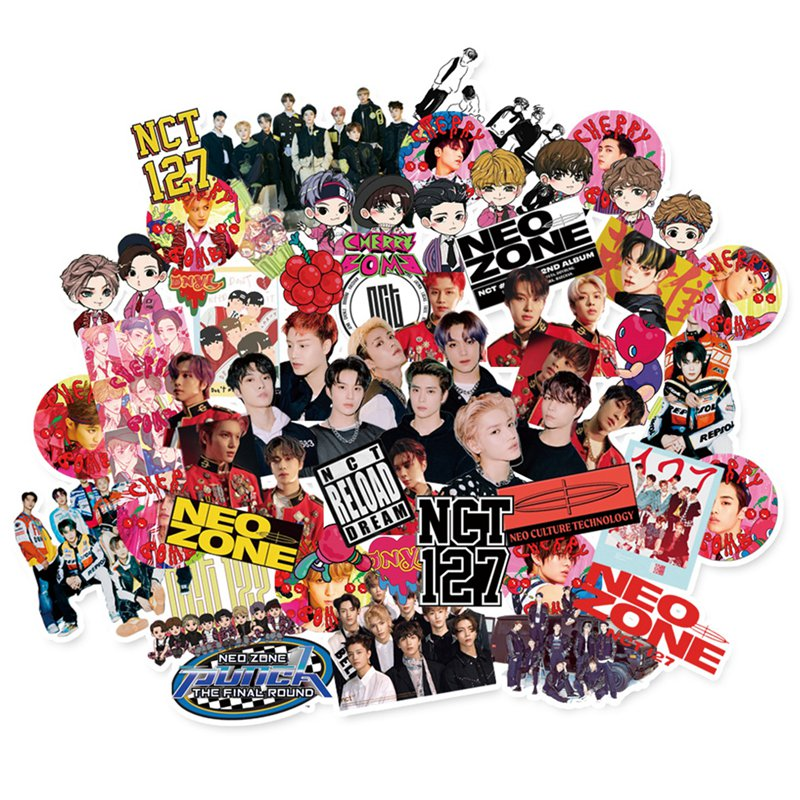 62PCS/Set Kpop NCT127 Adhesive Photo Sticker For Luggage Laptop Notebook Mobile DIY Stationery Stick