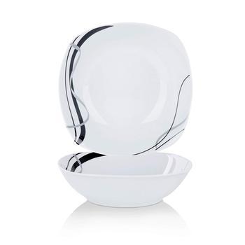 """VEWEET FIONA 2 piezas 9 """"marfil blanco porcelana 1050ML líneas negras fruta y ensaladera tazón para ensalada/platos laterales/sopa/postre"""