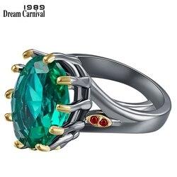 DreamCarnival1989 Big Green Zirconia Solitaire Wedding Ring for Women Delicate Fine Cut Dazzling Prong CZ Bridal Jewelry WA11876