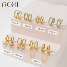 ROXI – boucles d'oreilles en forme de trèfle à fleurs pour femmes, en croix, en forme de goutte d'eau, Turquoise, créoles, inhabituelles, Cartilage, argent 925