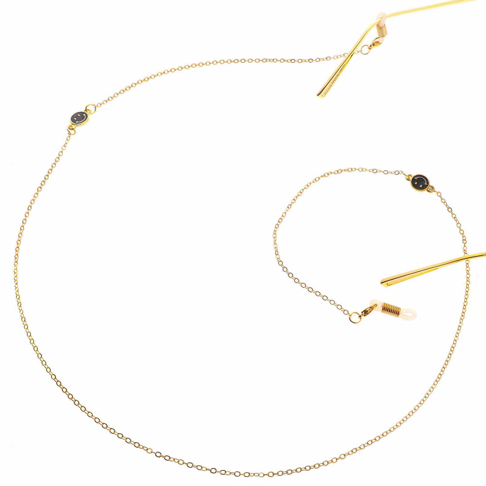 แฟชั่น Gold-TONE สีดำและสีขาวรูปแบบยิ้มแว่นตาจี้ Presbyopic แว่นตา Anti-loss จี้ AliExpress amaz