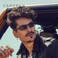 CAPONI Square Sunglasses Men Polarized Pure Titanium Frame Photochromic Eyewear Vintage Driving Clear Sun Glasses UV400 BS1190