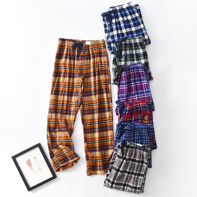 Men Cotton Home Lounge Pants Night Pants Plaid Plus Size Trousers Leisure Drawstring Side Pocket Sleep Bottoms Spring and Autumn