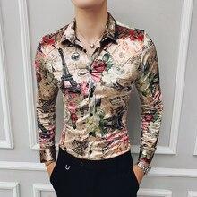 Kış gömlek Mens kadife lüks gömlek erkek altın baskılı Camisas Hombre Slim Fit kraliyet barok erkek giyim kulübü parti elbise