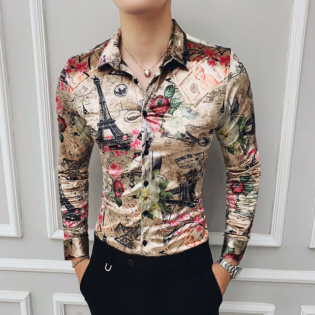 Winter Shirts Mens Velvet Luxury Shirts Mens Gold Printed Camisas Hombre Slim Fit Royal Baroque Mens Clothing Club Party Dress