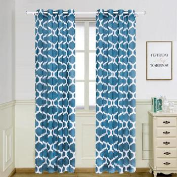finished Imitation Cotton linen Morocco flower Printed curtains Finished curtains for bedroom living room decoration Shading customize