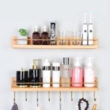 Bathroom Shelf  Cosmetics Storage Rack Solid Wood Towel Rack with Brass Hook Wall Mounted Walnut Hanging Rack SZ-BR21032104
