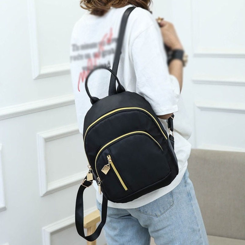 Women's Fashion Solid Color Backpack Multi-Function Shoulder Bag Casual Backpack Oxford Material Hollow Out Decoration Mochila