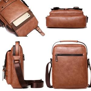 "Image 3 - Business Men Shoulder Bag PU Leather Male Messenger Bags Retro Men Crossbody Bag for 10.5"" Ipad Travel Zipper Male Handbags"